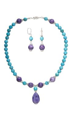Jewelry Design - Single-Strand Necklace and Earring Set with Turquoise Gemstone Beads, Crazy Lace Agate Gemstone Beads and Silver-Plated Brass Bead Caps - Fire Mountain Gems and Beads