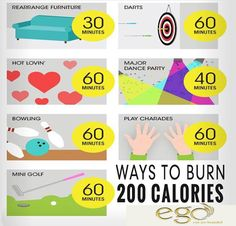 Ways to burn 200 Calories.