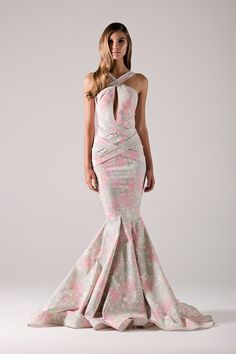Floral print mermaid gown.-Michael Costello US Size Chart- Made true to size- When choosing height, include the inchesof yourheels- If you select custom, one of our representatives will contact you for size information- Dry clean only