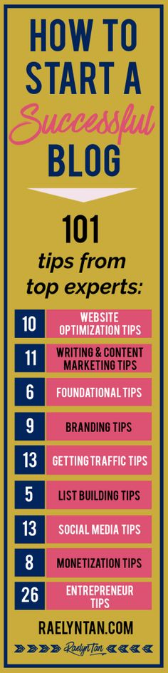HOW TO START A SUCCESSFUL BLOG: 101 tips from top experts so that you can make money with your blog + online business. Learn how to optimize your website, master your branding, build your email list, rock social media, get more blog traffic, do content marketing, monetize your blog and much more! It's time to start a successful blog.