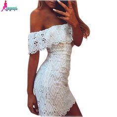 Gagaopt 2016 Summer Womens Dress Off Shoulder White Lace Dress Casual Hollow Out Floral Dresses Feamle Vestidos De Fiesta Robe