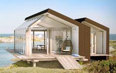 """""""Himmel"""" på 70 kvadratmeter med limträkonstruktion, träaltan och plintgrund. Fyra meter i takhöjd där även takfönstren är öppningsbara. Pris 2,5 miljoner."""