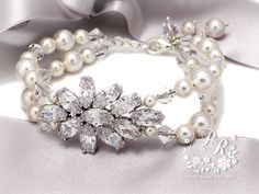 Wedding Bracelet Swarovski Pearl Zirconia Bridal Bracelet Wedding Jewelry Wedding Accessory Bridesmaid bracelet Wedding Accessories Sasa
