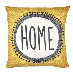 Printed with a contemporary geometric pattern in a warm ochre colour, this square cushion is illustrated with 'Home' lettering in a contrasting grey colour, complete with a plump and durable hollowfibre inner. Family Dining Rooms, Living Room Grey, Home Living Room, Family Room, Grey And Yellow Living Room, Grey Room, Grey Cushions, Scatter Cushions, Charcoal House