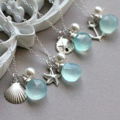 GIFT SET of FOUR Beach Wedding Necklaces - Pick your custom gemstone color!