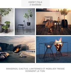 Candles, fire, oil lamps in dusk; plants along trellis bench, counter & on surfaces; pillows and throws in grey & nude tones