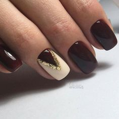 Best Winter Nails for 2017 - 67 Trending Winter Nail Designs - Best Nail Art White Gel Nails, Gold Nails, Black Cherry Nails, Red And White Nails, Dark Nails, Cherry Red, New Year's Nails, Hair And Nails, Nails 2016