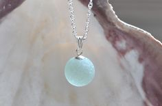 Flawless Seafoam Marble Genuine Sea Glass Suspended Pendant