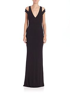 ABS - Cutout Jersey Plunging V-Neck Gown