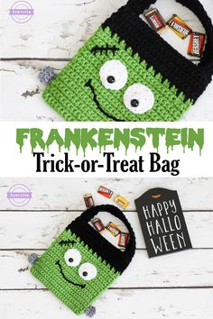 Frankenstein Monster Trick or Treat Halloween Bag | Free Crochet Pattern from Sewrella