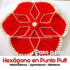 Cómo tejer hexágono crochet en punto puff / Paso a paso   Patrones para Crochet