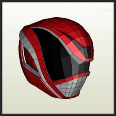 Power Rangers - DekaRed's Helmet Papercraft Free Template Download - http://www.papercraftsquare.com/power-rangers-dekareds-helmet-papercraft-free-template-download.html