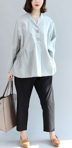 1a01d4b686476 new fall gray embroidery cotton tops loose casual blouse long sleeve shirts