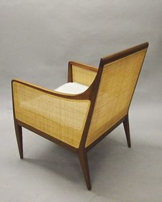 Kipp Stewart; Wood and Cane Lounge Chair for Directional, c1955.