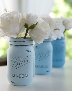 Painted distressed mason jars blue baby blue beachy blue wedding centerpieces baby and bridal 21 adorable blue wedding dresses for romantic celebration Blue Wedding Decorations, Blue Wedding Centerpieces, Bridal Shower Centerpieces, Flower Centerpieces, Tall Centerpiece, Flower Arrangements, Baby Blue Wedding Theme, Blue And Blush Wedding, Blue Bridal