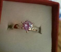 LOOK!!!! A BEAUTIFUL STAMPED 10K WHITE GOLD FILLED AMETHYST AND AAA CZ ENGAGEMENT RING SIZE 7
