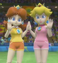 Here is Peach in Daisy saying hello on everybody's Televisions. Peach and Daisy are copyright Nintendo. Peach and Daisy: Rio Princesses Mario Princess Daisy, Nintendo Princess, Super Mario Bros, Luigi And Daisy, Mario All Stars, Mario Fan Art, Peach Mario, Best Freinds, Princesa Peach