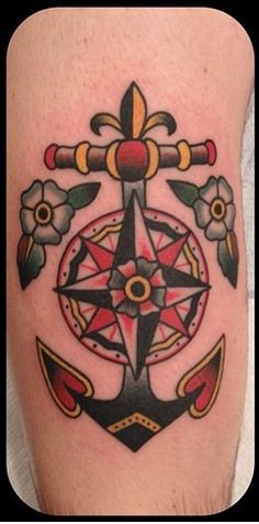 Anchor and Compass Rose