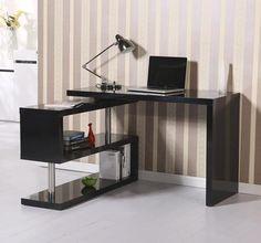 Black Computer Desk High Gloss Table Display Shelves Bookcase Workstation Study