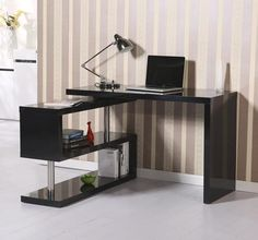 Black Computer Desk High Gloss Table Display Shelves Bookcase Workstation Study