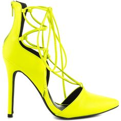 Liliana Women's Strilly - Neon Yellow ($51) ❤ liked on Polyvore featuring shoes, pumps, yellow, sexy high heel pumps, high heel shoes, neon yellow pumps, pointed toe pumps and high heel pumps