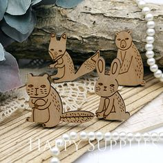 Handmade Lovely Animal Wooden Charms Pendants for jewelry making supplies