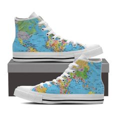 WOMEN'S WORLD MAP HIGH-TOP SHOES (WHITE) - FREE SHIPPING WORLDWIDE – Wanderlustique
