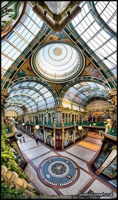 Victoria Quarter, Leeds - 180 Degree Vertical Panorama by Tom Holmes on Leeds England, Yorkshire England, West Yorkshire, England Uk, Northern England, Panoramic Photography, City Photography, Historical Architecture, Amazing Architecture