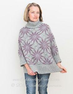 Morning Star Poncho Sweater Crochet pattern by Natalia Kononova Pull Crochet, Crochet Tunic, Crochet Sweaters, Crochet Tops, Crochet Clothes, Knitting Patterns, Crochet Patterns, Morning Star, Knit Picks