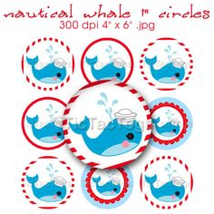 Nautical Whale Anchor Bottle Cap Colorful Images 1 by tictactogs, $2.50