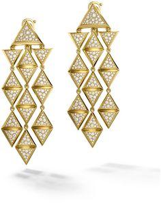 GABRIELLE'S AMAZING FANTASY CLOSET | Marina B 18K Yellow Gold Triangoli Diamond Pave Dangle Earrings |