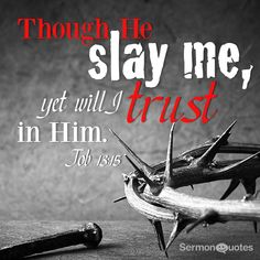 Though he slay me, yet will I trust in him Job 13:15