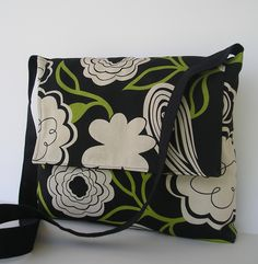 Messenger Bag / Crossbody Bag / Daiper Bag / iPad / Laptop in Black and Green Floral. $30.00, via Etsy.
