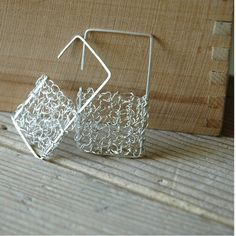 Geometric square wire crochet earrings large jewelry unique