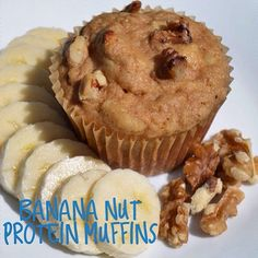 These moist Banana Nut Muffins offer a nutritious start to the day and are great if you're on-the-go!  Thanks for sharing @karli_tonesup!  2/3 cup oat flour 1 scoop vanilla #PerfectFitProtein 1 tsp cinnamon 2 tsp baking powder 1/4 cup maple syrup 2 bananas, mashed 1/2 cup unsweetened applesauce 1/2 cup plain or banana flavored @elliquark 2 large egg whites 1 tsp vanilla extract 1/4 cup crushed walnuts Preheat oven to 400 degrees then spray a 12 cup muffin tin with coconut oil. In a medium