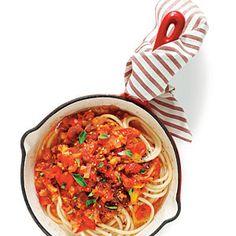 Garden Tomato Sauce over Pasta | MyRecipes.com