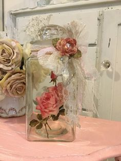 A personal favorite from my Etsy shop https://www.etsy.com/listing/507823799/shabby-glass-canister-jar-apothecary-jar