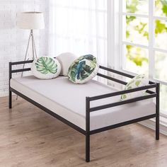 Enjoy extra sleeping space and additional seating with this Kamen Split-Rail Twin Daybed. The stylish metal frame will complement any décor and is made from premium steel for the best support. Metal Daybed, Wood Daybed, Home Decor Furniture, Furniture Deals, Furniture Design, Furniture Removal, Plywood Furniture, Furniture Stores, Chair Design