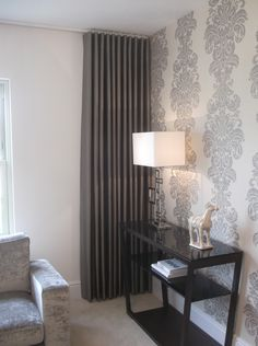Love the wall and the curtains to compliment.- Love the wall and the curtains to compliment. Love the wall and the curtains to compliment. Curtains For Bifold Doors, Curtains For Grey Walls, Wave Curtains, Ceiling Curtains, Bedroom Drapes, Curtains With Blinds, Bedroom Decor, Curtain Styles, Curtain Designs