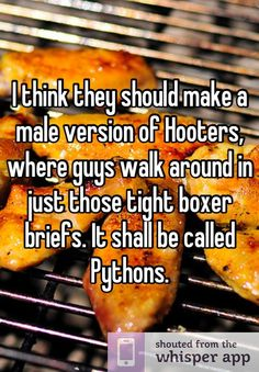 This made me laugh!   'I think they should make a male version of Hooters, where guys walk around in just those tight boxer briefs.It shall be called Pythons.'
