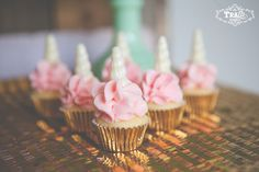 gold wrappers, pink cupcakes great for unicorn party.