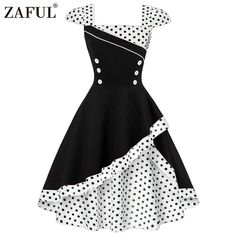 LaceLady Women Vintage Tea Dress Prom Swing Cocktail Party Dress with Belt Polka Dot Dress Clothing Corset Vintage, Robes Vintage, Vintage Dresses, Vintage Tea, Retro Vintage, Vintage Party, Vintage Music, Vintage Style, Vintage Outfits
