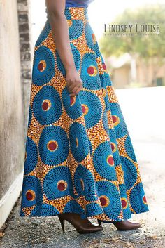 Blue and Orange African Ankara Maxi High by MsAlabaAfricanShop African Wear Dresses, Latest African Fashion Dresses, African Print Fashion, African Attire, Fashion Prints, Igbo Bride, Cute Little Girl Hairstyles, Native Wears, African Fabric