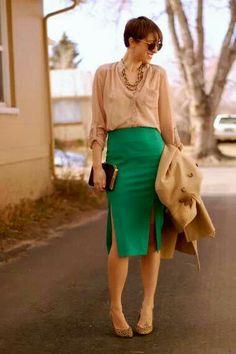 Green skirt. Cream blouse.  Leopard. Heals. Love