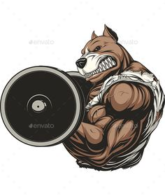 Strong Dog by Andrey1005 Vector graphics Install any size without loss of quality. ZIP archive contains: -file EPS10; -file JPEG; -file PSD.