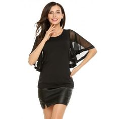 O-Neck Mesh Patchwork Flare Short Sleeve Solid Tops