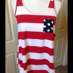 Red White and Blue Racerback Tank Racerback style tank with contrasting pocket and back bow. Tops Tank Tops