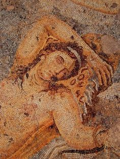 Detail of a mosaic from a Roman house in Thessaloniki. Ariadne sleeping. Pella, #Macedonia, #Greece Mosaic floor depicting Ariadne on Naxos. She is sleeping while Dionysus arrives with his followers.