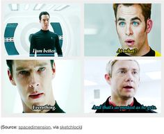 Funny how he's practically the same person in Star Trek as in Sherlock. Only more evil as Khan.<< xD ya