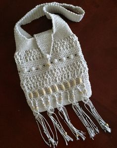 Crochet and macrame purse.Bag with fringes.Crochet by TemiM